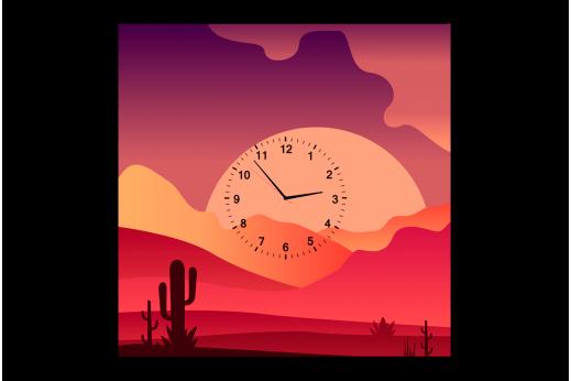 Картина-часы Кактус